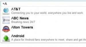 Resultaten Google plus pagina's met  andere instelling